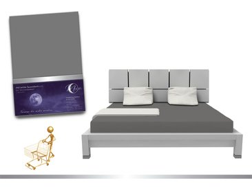 """Luxus Wasserbett Spannbettlaken """"Line platin"""" 180 - 200x220 240g/m² Spannbetttuch -graphit"""