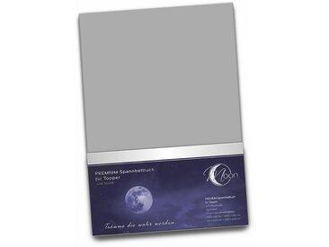 """Topper Spannbetttuch 190g/m²  180x200 - 200x220   """"Line silver""""-graphit"""