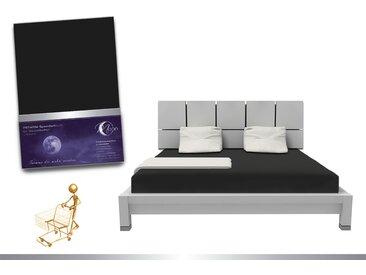 """Luxus Wasserbett Spannbettlaken """"Line platin"""" 180 - 200x220 240g/m² Spannbetttuch -schwarz"""