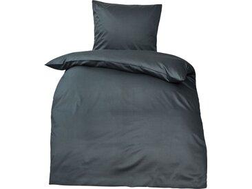 Premium uni Mako Satin Bettwäsche MOON 100% Baumwolle anthrazit-Deckenbezug 155x220