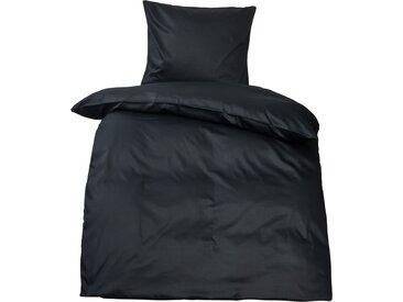 Premium uni Mako Satin Bettwäsche MOON 100% Baumwolle schwarz-Kissenbezug 40x40
