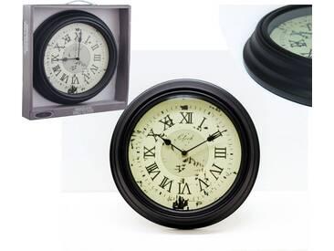 Wanduhr Dekouhr Rustikal Antik Vintage Uhr Rund Schwarz Ø30cm