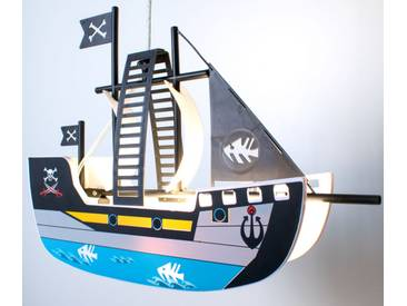 LED Kinder Pendelleuchte Piratenschiff Peters-Living Sparrow blau-gelb