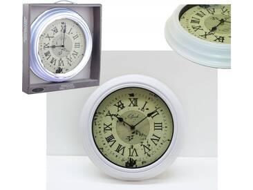 Wanduhr Dekouhr Rustikal Antik Vintage Uhr Rund Weiß Ø30cm