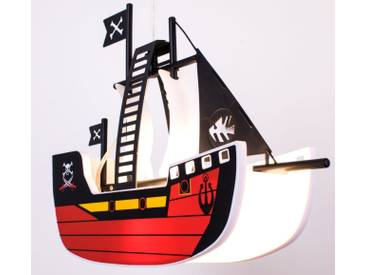 LED Kinder Pendelleuchte Piratenschiff Peters-Living Sparrow rot