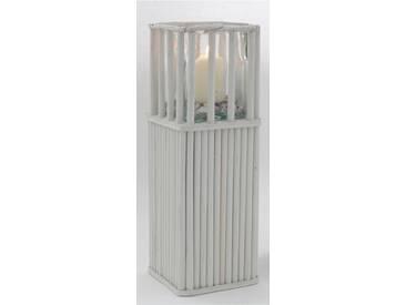 Holz Windlichtsäule Garten-Dekosäule Glas-Kerzenhalter weiß