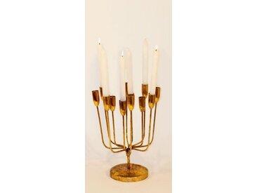 Kerzenständer für 12 Stabkerzen Kerzenhalter Metall Antikgold