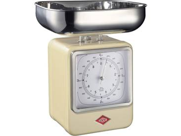 Retro - Küchenwaage mit Uhr - Mandel