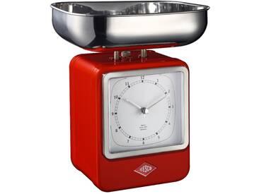 Retro - Küchenwaage mit Uhr - Rot