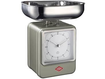 Retro - Küchenwaage mit Uhr - Neusilber