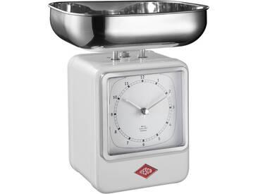 Retro - Küchenwaage mit Uhr - Weiß