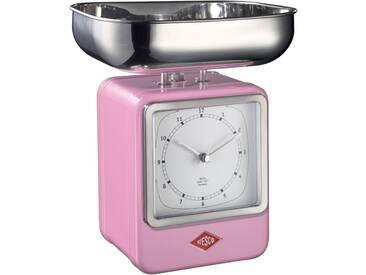 Retro - Küchenwaage mit Uhr - Pink