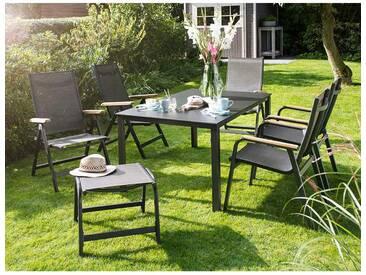 Kettler Granada Stapel- und Klappsessel Gartenmöbelset 7-teilig Set  mit Gartentisch 160x95 cm Anthrazit/Bronze