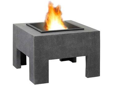 OUTLIV. Feuertisch quadratisch 58x58x39cm Clayfibre Granit