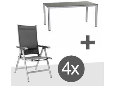 Kettler BasicPlus Gartenmöbelset 5-teilig mit Tisch Elements 160x90cm Silber/Anthrazit