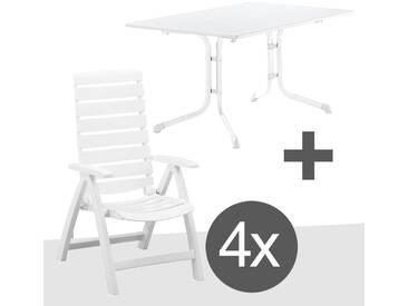 Kettler Rimini Sitzgruppe 5tlg Klapptisch 115cm Weiß