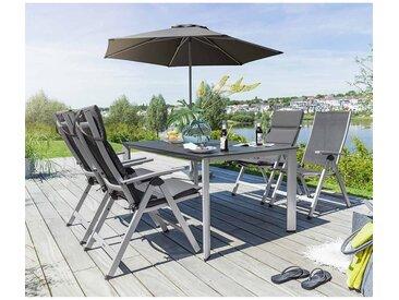 Kettler Easy Gartenmöbelset 7tlg. mit Edge Tisch 160x95cm Silber-Anthrazit-Schieferoptik