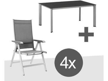 Kettler Basic Plus Klappsessel-Gartenmöbelset  5-teilig Aluminium/Tetilene mit Gartentisch 160x95 cm Silber/Anthrazit