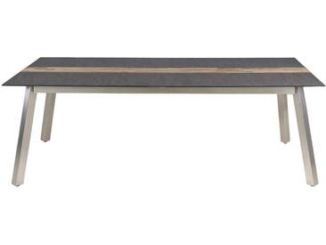 Zebra Linax Ausziehtisch 220/280x100cm Edelstahl/Teak/HPL Slate Grey/Teak Recycelt