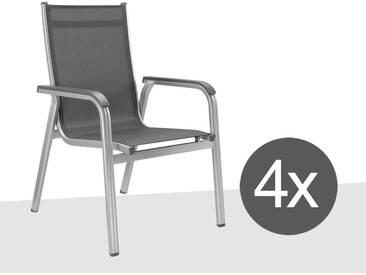 Kettler Basic Plus Stapelsesselset 4-teilig Aluminium/Textilene Silber/Anthrazit