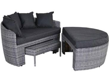 OUTLIV. Barollo Loungeinsel 3-teilig Geflecht inklusive Kissen Cloudy Grey/Reflex Black