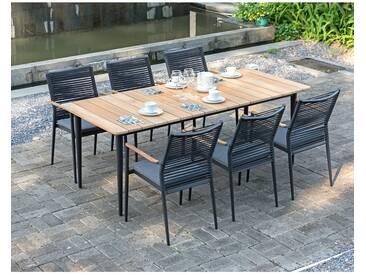 Zebra Spider Gartenmöbelset 7-teilig mit Gartentisch Tisch 210x90cm Graphit