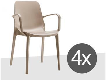 Scab Design Ginevra 4-tlg. Set Stapelsessel Kunststoff Dove Grey