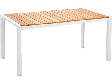 Best Paros Gartentisch 210x90cm Aluminium/Teak Weiß/Teak