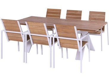 Hartman Poitiers/Xanadu Gartenmöbelset 7tlg. Tisch 220x100 cm Royal White/Teak