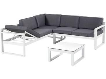 Hartman Perpignan Loungeecke 3-teilig Aluminium/Polster Weiß