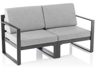 Kettler Ocean Modular 2-Sitzersofa Aluminium/Outdoorstoff Anthrazit/Hellgrau