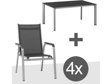 Kettler BasicPlus Gartenmöbelset 5tlg Aluminium Silber/Anthrazit