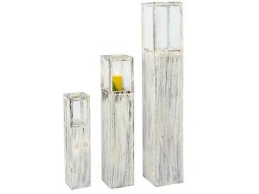 Denk Romantic Windlichtsäule 3-teiliges Set Holz Grau Holzoptik