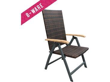 B-WARE – OUTLIV. Malaga Klappsessel Aluminium/Geflecht/Teak-AL Anthrazit/Mocca