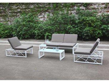 Zebra Ava Lounge-Set 4-teilig Aluminium weiß mit grauen Kissen und Schutzhülle