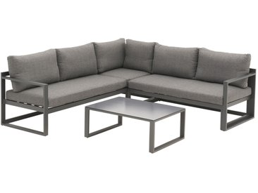 OUTLIV. Florenz Loungeecke 3-teilig Aluminium inklusive Kissen Dunkelgrau