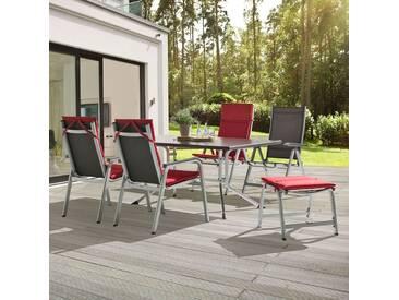Kettler BasicPlus Gartenmöbelset 11tlg Aluminium/Textilene Silber/Anthrazit