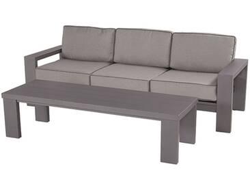 Hartman Titan 3-Sitzersofa + Loungetisch Aluminium/Polster Seal Grey/Light Grey
