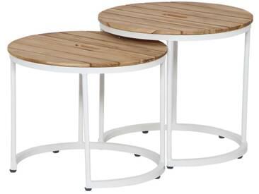 Siena Garden Baros 2er Set Beistelltische Aluminium/Teak Weiß