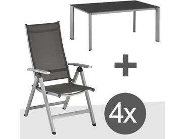 Kettler Easy Gartenmöbelset 5tlg Aluminium Silber/Anthrazit