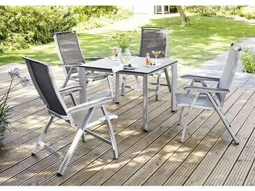 Kettler Forma II Gartenmöbelset 5tlg. Tisch 95x95cm Silber/Graphit