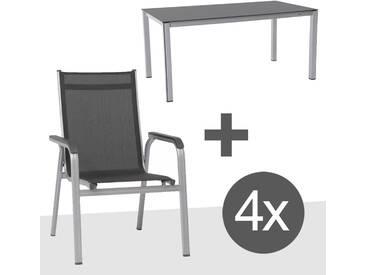 Kettler BasicPlus Gartenmöbelset Stapel 5-tlg Silber/Anthrazit