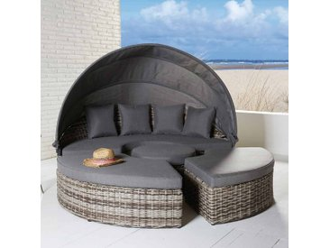 LC Garden Sevilla Loungeinsel 4-teilig Aluminium/Geflecht inklusive Kissen Vintage Braun/Grau