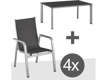 Kettler Easy Gartenmöbelset 5tlg. Aluminium Silber/Anthrazit