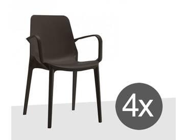 Scab Design Ginevra 4-tlg. Set Stapelsessel Kunststoff Anthrazit