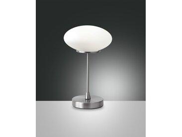LED Tischlampe nickel satiniert Fabas Luce Jap 450lm mit Touchdimmer