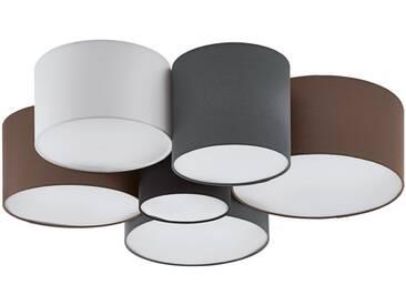 EGLO PASTORE Deckenleuchte Textil braun, grau, weiss, schwarz 6xE27