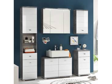 home24 Waschbeckenunterschrank Wyntoon Granit/Weiß
