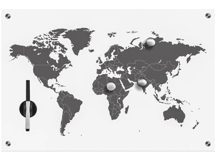 Memoboard Worldmap Weiß
