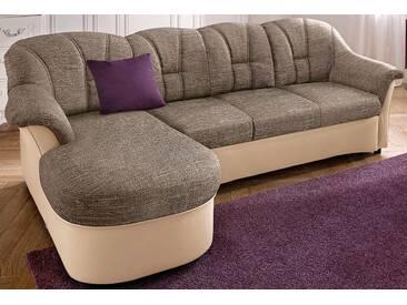 Domo Collection Polstergarnitur, beige, Recamiere links, B/H/T: 233x42x50cm, hoher Sitzkomfort